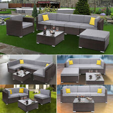 1-7 PCS Patio PE Wicker Rattan Corner Sofa Sectional Home Couch Furniture Set US