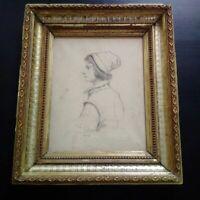 1859 superbe dessin portrait jeune homme XIXème signé daté 1859 bel encadrement