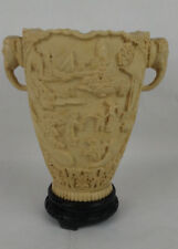 Asian Chinese Japanese Elephant Handle Vase Carved Resin Raised Relief