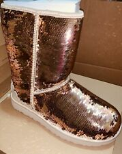 Womens Sequin Two Color Gold Uggs 8