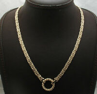 Unique Twisted Circle Byzantine Chain Necklace Fold Over Real 14K Yellow Gold