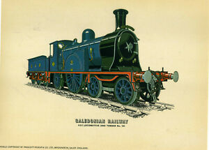 Prescott Pickup Steam train / Locomotive Print: Caledonian Railway 4-2-2, No 123