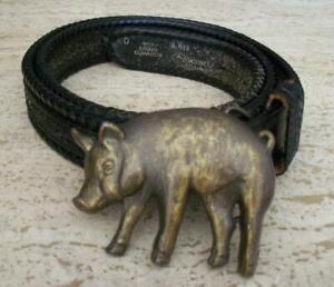 HOG PIG BUCKLE ON NOCONA BLACK LEATHER BELT 41