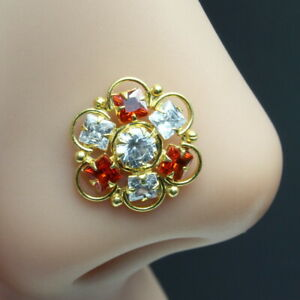 Indian Nose ring Red White CZ studded gold plated Piercing Nose stud push pin