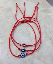 3 Red String Kabbalah Bracelet Evil Eye Goldilled Bead Good Luck Protection