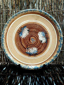"""Pottery Plate 9"""" Stoneware Round Handcrafted Handpainted SHEEP THEME ,FOOD SAFE"""