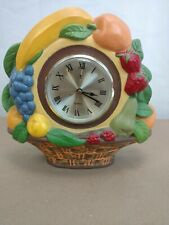 Vintage Style Ceramic Hand Painted Fruit Basket Battery Operated Wall Clock 1976