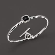 Ippolita Stella Black Onyx & Diamonds Toglette Bangle Bracelet Sterling Silver