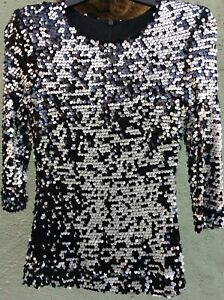 Gorgeous French Connection Black & Silver Sequin Fitted Party Top Size XS/6.