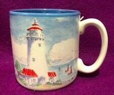Lighthouse Blue Cup Mug Flowers Baloons Korea Vintage