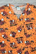 Lg Halloween Haunted House Ghost Vampire Blck Cat Bats Cemetary Scrub Top Orange