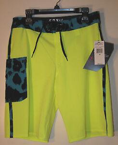 Fox Boys Camino Board Shorts NWT Size 28 Yellow Bio Stretch