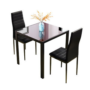 2 PU Leather Padded Seat Chairs & 75cm Square Black Glass Dining Table Set