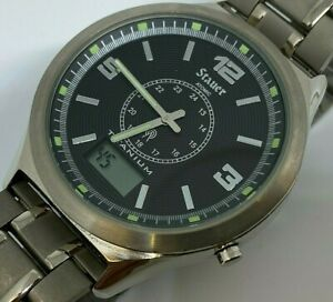 Stauer Mens Titanium Radio Controlled Atomic Analog Digital Watch Hours~New Batt