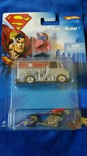 2007 HOT WHEELS SUPERMAN DAILY PLANET DELIVERY VAN, MOTORCYCLE oozie & FIGURINE