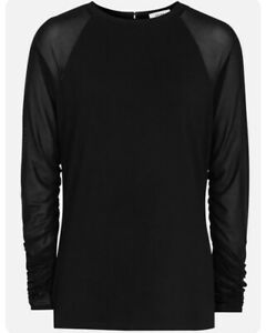 Reiss Kezia Sheer Sleeve Top In Black Sold Out RRP £70.00 Size M