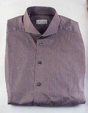 NWOT ETON DRESS SHIRT SLIM FIT 39 15.5 BROWN COTTON WHITE STRIPES CUTAWAY COLLAR