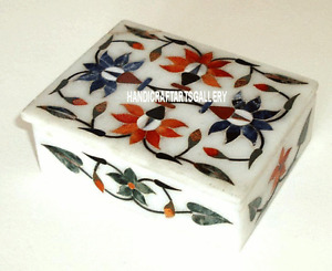 "4""x3""x2"" White Marble Square Jewellery Box Floral Inlay Birthday Gift H3209"
