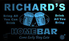 p1506-b Richard's Personalized Home Bar Beer Family Name Neon Light Sign