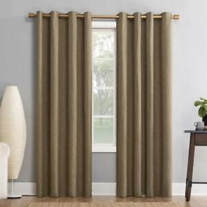2 SUN ZERO Galvin Single 100% Blackout Grommet Curtain Panels 52 x84 Camel lot 2