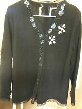 WOMENS STORYBOOK BLACK SWEATER CRYSTALS , BEADS AND LACE SIZE LARGE