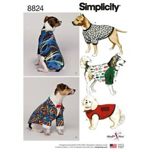 Simplicity Sewing Pattern 8824 Dog Coat, T Shirt, Suit and Sweatshirt Size S-M-L
