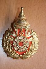 ORIGINAL OLDER THAILAND SIAM BRASS MILITARY ARMY ? CAP BADGE #3