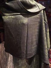 Nemesis Vintage Style Knit Brocade Olive Green Black Pashmina Paisley Scarf Wrap