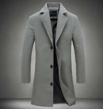 Stylish Mens Wool Blend Overcoat Slim Fit Long Trench Coat Business Casual US L