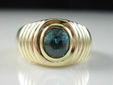 Blue Zircon Ring 14K Yellow Gold  Fine Fn Jewelry Bezel Shrimp Dome Estate