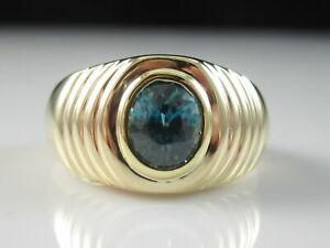 Blue Zircon Ring 14K Yellow Gold  Fine Fn Jewelry Bezel Shrimp Dome Estate