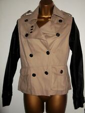 BLACK FAUX LEATHER & BEIGE DENIM BIKER / MILITARY STYLE JACKET U.K 8 PUNK GRUNGE