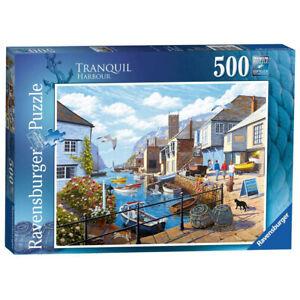 Ravensburger 500 Piece Jigsaw Puzzle Tranquil Harbour Boats Stephen Cummins
