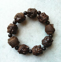 Chinese handcareved Natural Wood Bracelet with All sides Buddha Beads