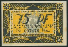 TILZE 75 Pfennig (1921) Tilsit Lithuania Germany