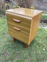 Vintage Mid Century Scandi Style Storage Cabinet Teak Veneer Dansette Legs Retro
