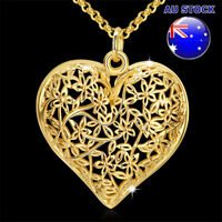 Vintage Wholesale 18K Gold Filled Hollow Lace Love Heart Pendant Necklace Gift
