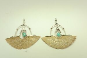 Sterling Silver Turquoise Dangle Earrings Vintage CT1014