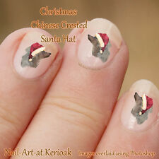 CHRISTMAS CHINESE CRESTED DOG santa hat, Nail Art Stickers dog decals