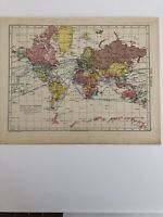 Map 1935: World Map & North Polar Regions Original Vintage Print 85 Years Old