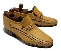Vintage Florsheim Italy Loafers Woven Brown Leather Slip On Dress Shoes Sz 8.5