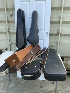 Lot of Mix Style Vintage Violin Cases and bows