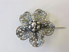 STERLING SILVER  BEAU BROOCH  PIN  ROUND ROSE PIN VERY  NICE CONDITION