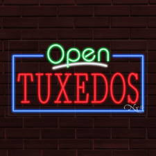 """Brand New """"Open Tuxedos"""" w/Border 37x20X1 Inch Led Flex Indoor Sign 35591"""