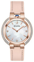 Bulova Rubaiyat Women's Quartz Diamond Accents Leather 35mm Watch 98R267