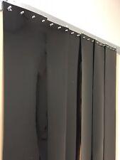Vinyl Strip Door Curtain 48 in. X96 in. Black Opaque Smooth Hardware Included