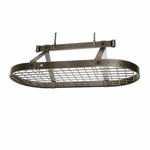 Enclume PR16BWG HS Premier 3-Foot Oval Ceiling Pot Rack, Hammered Steel