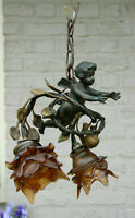 Antique french bronze putti angel 2 arm pendant lamp chandelier roses rare