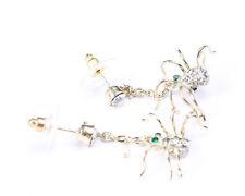 Gold Tone and Rhinestone Spider Dangle Earrings