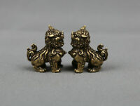 "1.3""Collect China Bronze Fengshui Animal Foo Fu Dog Guardion Lion Statue Pair93g"